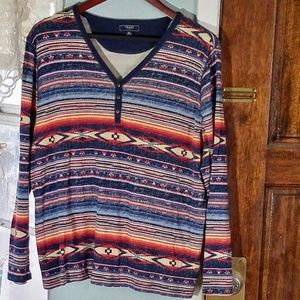 Chaps Denim Tribal Print Light Sweater Size 3X